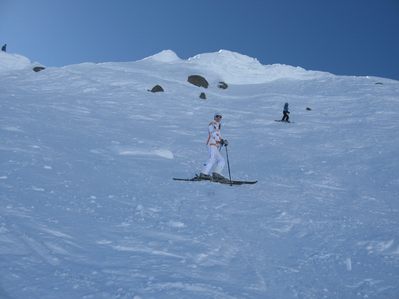 Lucie skiing double blacks at Whistler Peak