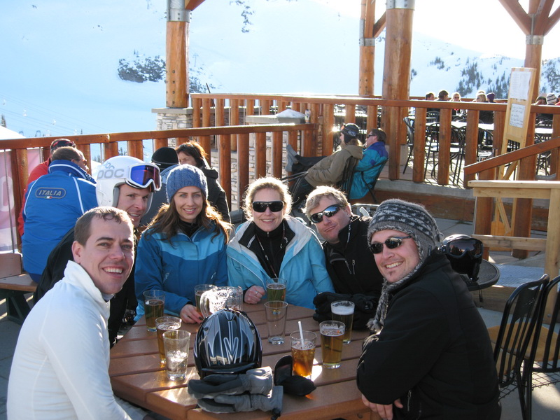 Last beer before last run - last to leave the Mountain