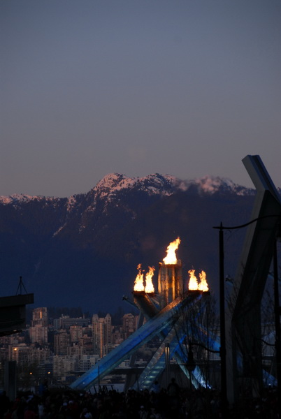 Olympic Flame in Vancouver at night
