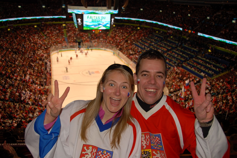 Tomas and Lucie supporting Czech hockey