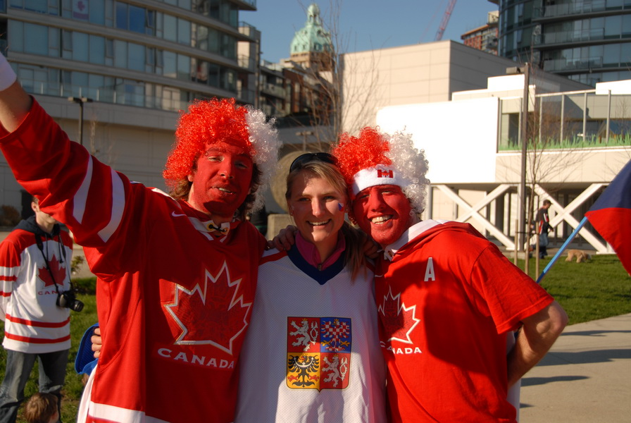 Lucie with Canada hockey fans